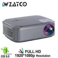 WZATCO T58 Android 9.0 Wired Sync Display For Iphone Full HD LED Projector 1920*1080p Portable Beamer Home Cinema projecteur