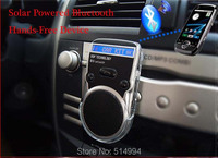 2015 New arrival!!Solar Powered Bluetooth Car Kit Handsfree call LCD Display w/ Car charger free shipping