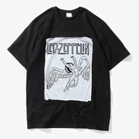 Led Zeppelin Swan Song Rock N Roll Attitude Patchwork Printing Cotton T Shirt