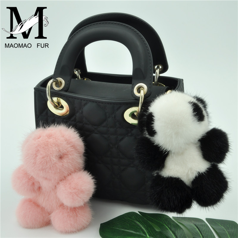 Real Mink Fur Keychain Fur Panda Girl Keychains Mink Fur Women Car Bag Key Ring hm023 women s winter hats real genuine mink fur hat winter women s warm caps whole piece mink fur hats