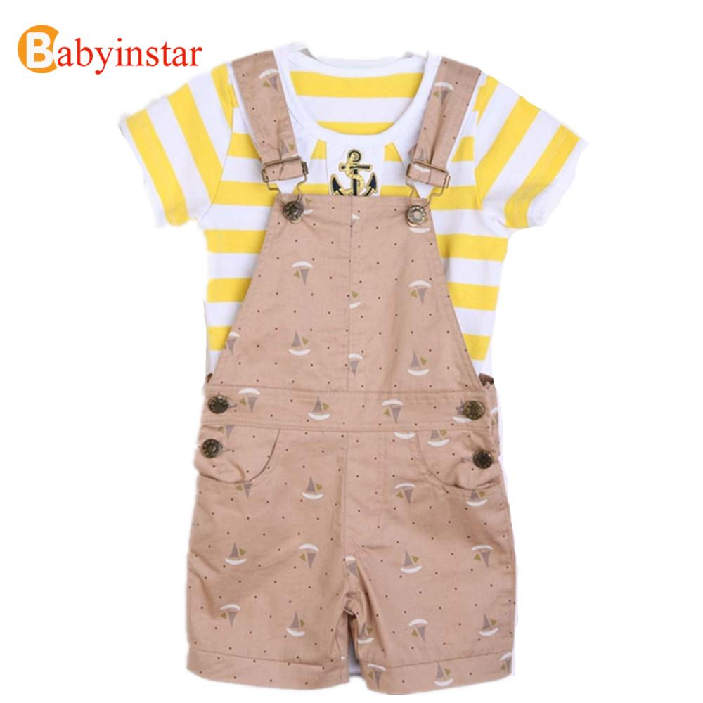 2017 baby cotton set summer style infant clothes baby clothing sets boy Cotton shirt+bib 2 pcs