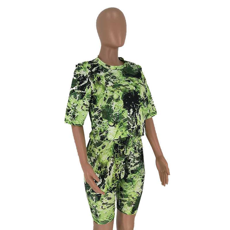Повседневный комплект из двух предметов с камуфляжным принтом для женщин, спортивный костюм с короткими рукавами, Свободный укороченный топ, футболка + шорты, уличная одежда, повседневные Костюмы
