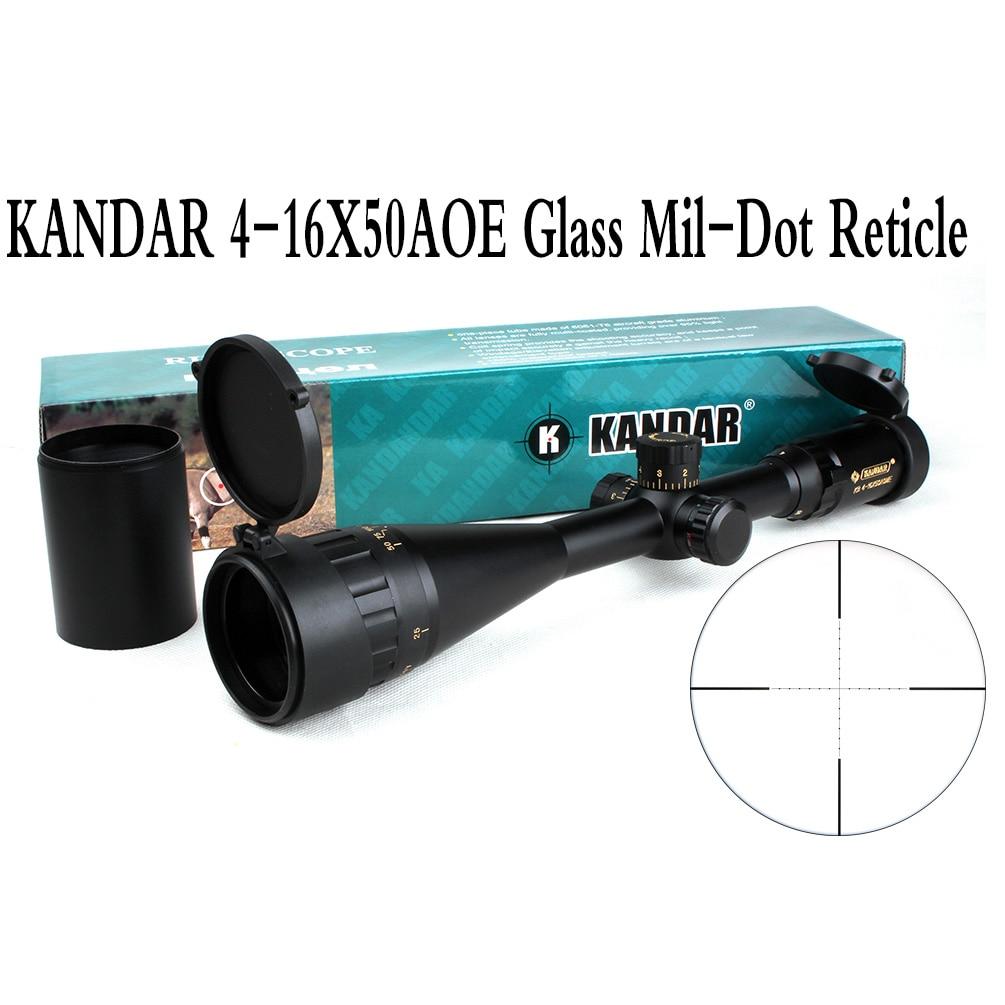 전술 광학 시력 골드 에디션 KANDAR 4-16x50 AOME 유리 밀 도트 레티클 잠금 장치 RifleScope 사냥 용 라이플 범위