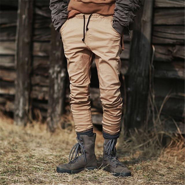 9f5898dd12cb3 Streetwear Fashion Brand Slim Fitness Biker Jogger Pants Men Solid Color  Khaki Black Pencil Pants Casual