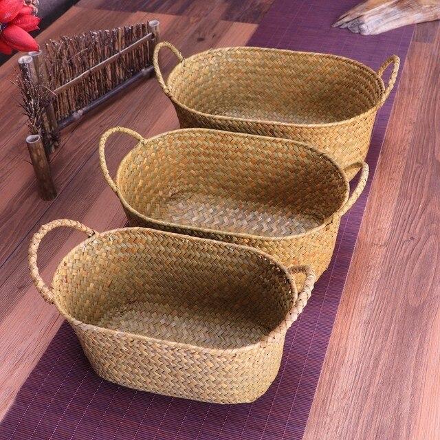 Wicker Weaving Storage Basket For Kitchen Handmade Fruit Dish Rattan