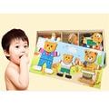 Деревянные Игрушки дети головоломки игрушки три Медведя Туалетная Jigsaw игрушки для детей животных переодеться творческие DIY Игрушки CU29