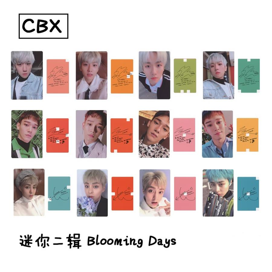 Kpop EXO CBX Blooming Days Album Paper Photo Cards Baekhyun Xiumin Autograph Self Made Photocard Poster 12pcs/set