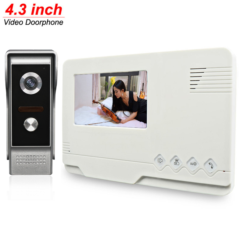 4.3 inch LCD Monitor Video Door Phone Doorbell Gate Intercom 700TVL HD Metal Camera System with Free 5M Cable homefong 7 tft lcd hd door bell with camera home security monitor wire video door phone doorbell intercom system 1200 tvl