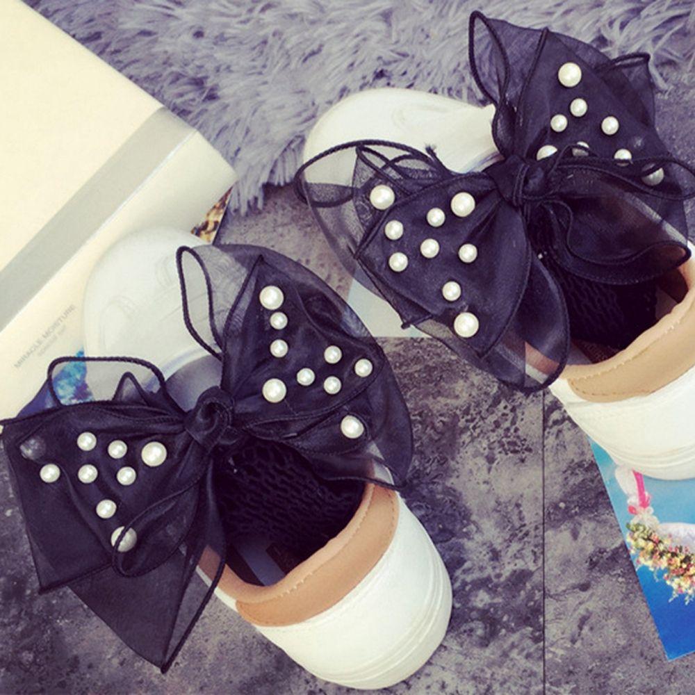 1Pair Fashion Women Girls Ruffle Lace Pearl Bowknot Fishnet Ankle High Ultra Thin Mesh Short   Socks   Summer