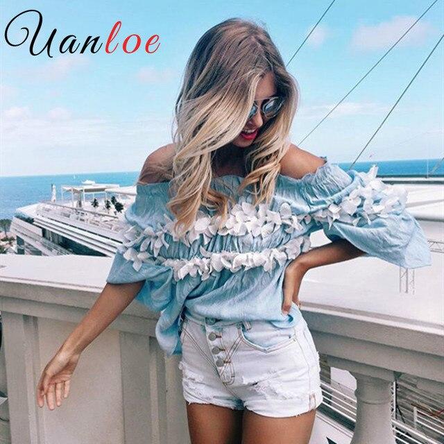 Uanloe Новинка 2016 г. блузка рубашка blusas Для женщин женские Femme со спущенными плечами синие пикантные элегантные Аппликация плиссе 90-х T0681