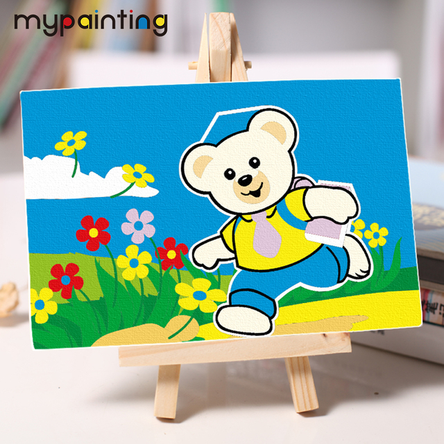 children diy oil Painting by numbers bear doctor coloring by number ...