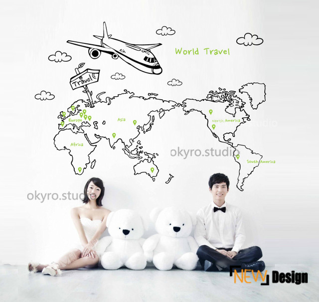 Free shippingbedroom world map wall stickers map wall decals free shippingbedroom world map wall stickers map wall decals plane cloud travel nursery gumiabroncs Images