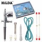 HILDA Portable 0.2 / 0.3 / 0.5mm Needles Nozzles Dual Action Airbrush Air Compressor Kit Craft CakePaint Art Pneumatic Spray Gun