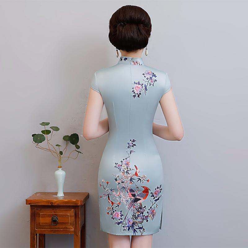 New Arrival Women's Satin Mini Cheongsam Fashion Chinese Style Dress Elegant Slim Qipao Clothing Size S M L XL XXL 368483 3
