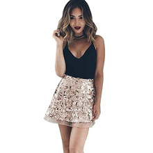 7d6da852cb75d New Shiny Sequined Skirt Women Fashion Rose Gold Lace Mini Skirt Vintage  Sexy Ladies A Line Bling Party Club Skirts Jupe