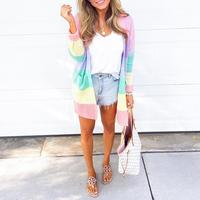 2019 Spring Women Fashion Elegant Casual Loose Vintage Open Front Sweater Rainbow Striped Open Front Casual Cardigan