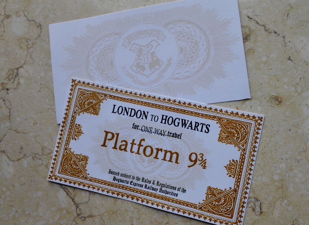 Hogwarts School tickets hand-make 2PCS gloden fancy gift Harry potter Train tickets Nine and three quarters for tickets