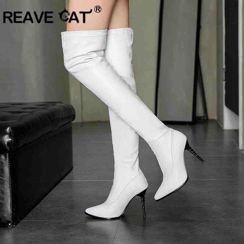 ca65ff970 REAVE CAT/большой Размеры 34–43 Женские ботинки на высоких каблуках;  Высокие Сапоги