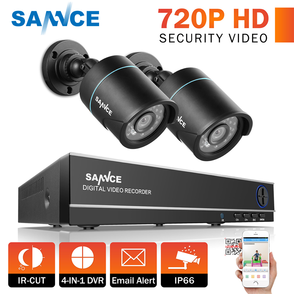SANNCE HD 4CH CCTV System 1080P HDMI DVR 2PCS 720P 1280TVL CCTV IR Outdoor Video Surveillance Security Cameras 4ch DVR Kit security camera system hd 4ch cctv system 1080p hdmi ahd dvr 2pcs 720p 1080p ahd cameras cctv ir outdoor surveillance system