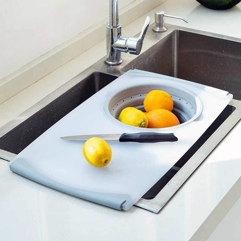 Kitchen Table Flexible Cutting Board Silicone Folding Drain Basket Cooking Cutting Board With Storage Kitchen Stuff