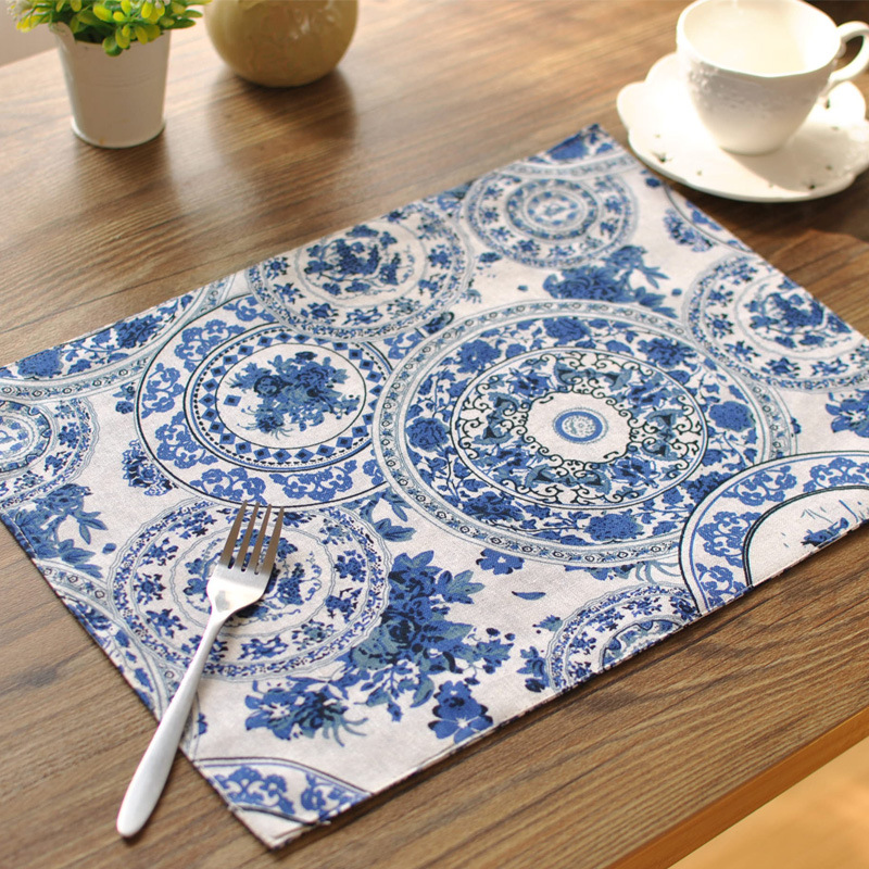 europe orchids double sided cotton linen placemat napkins table mat