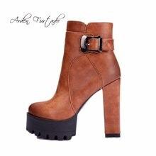 0cac07c197148 Arden Furtado 2018 automne hiver nouvelle plate-forme haute talons 11 cm cheville  bottes chaussures pour femme petit taille 32 3.