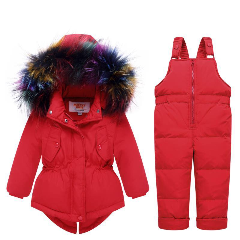 HYLKIDHUOSE Winter Girls Clothing Sets Outdoot Windproof Children Clothes Suits Thickening Down Jackets Overalls Kids Suits недорого