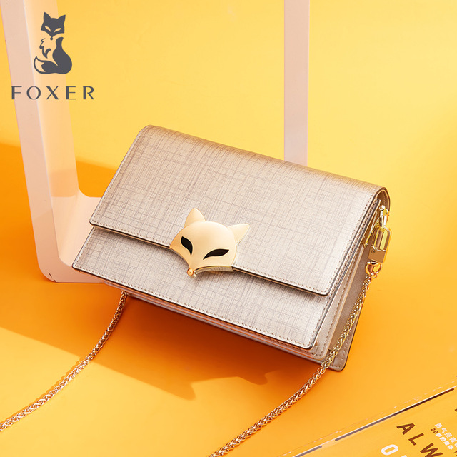FOXER Brand Fashion Women Leather Chain Crossbody Bags Classic Messenger Bags Women Leather Crossbody Bag & Lady Shoulder Bags FOXER Brand Fashion Women Leather Chain Crossbody Bags Classic Messenger Bags Women Leather Crossbody Bag & Lady Shoulder Bags