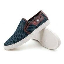 Amantes de los Zapatos Casuales Hombres Zapatos de Malla Transpirable Mocasines Moda Hombre Slip On Pisos de Plataforma de Verano