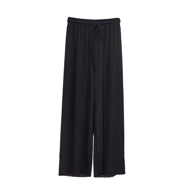Women Summer Thin Knit Trousers Black Wide Leg Loose Pants Ankle Length Pants Casual trouser Elastic Waist Plus Size Pants S-4XL 6