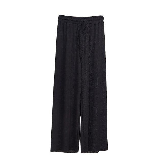 Women Summer Thin Knit Trousers Black Wide Leg Loose Pants Ankle Length Pants Casual trouser Elastic Waist 6