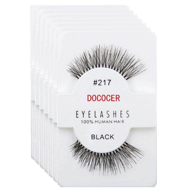 DOCOCER 60 pairs Eyelashes 217 Lashes 100 Human Hair Handmade False Eyelashes Messy Nature Eye Lashes