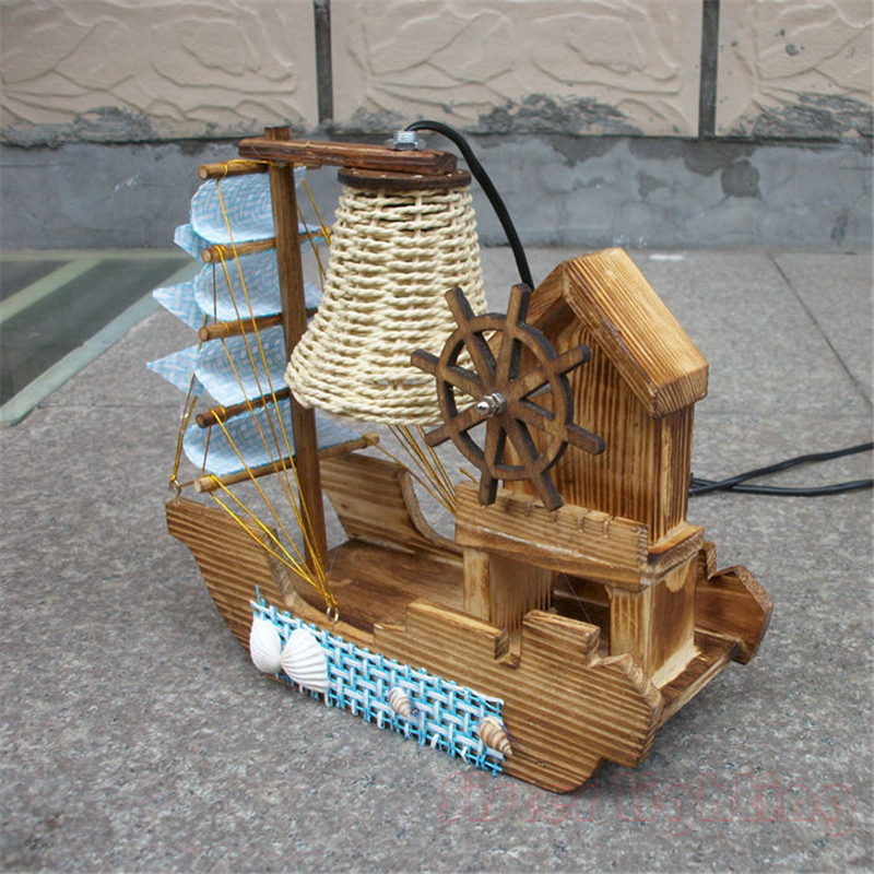 Handmade Sailing Boat Shape Night Light with Music Box for Children room home desk Light Birthday gift 220V EU Plug