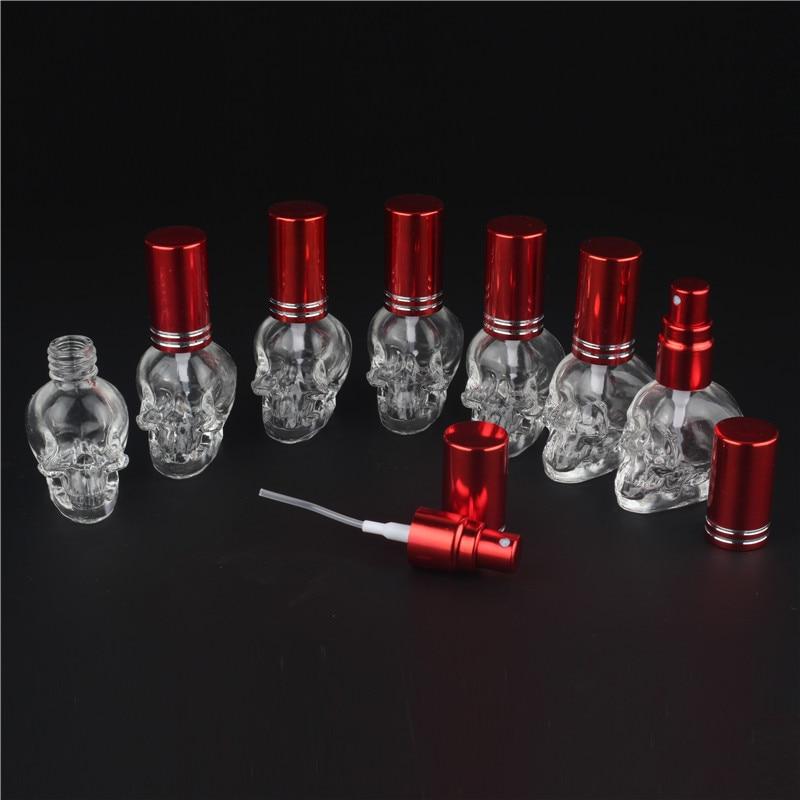 100 шт 10 цветов 8 мл мини модный Стеклянный Череп флакон духов пустой прозрачный пульверизатор многоразового использования упаковка для духов