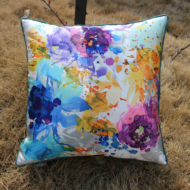 VEZO HOME Printed Oil Painting Multicolored Floral Satin Sofa Unique Multicolored Decorative Pillows