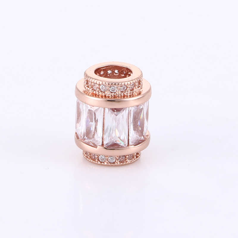 1 pcs Charm Micro Pave Zircon Crystal Beads Beading Wholesale Copper Metal Big Hole Beads For Snake Chains Charms Bracelets