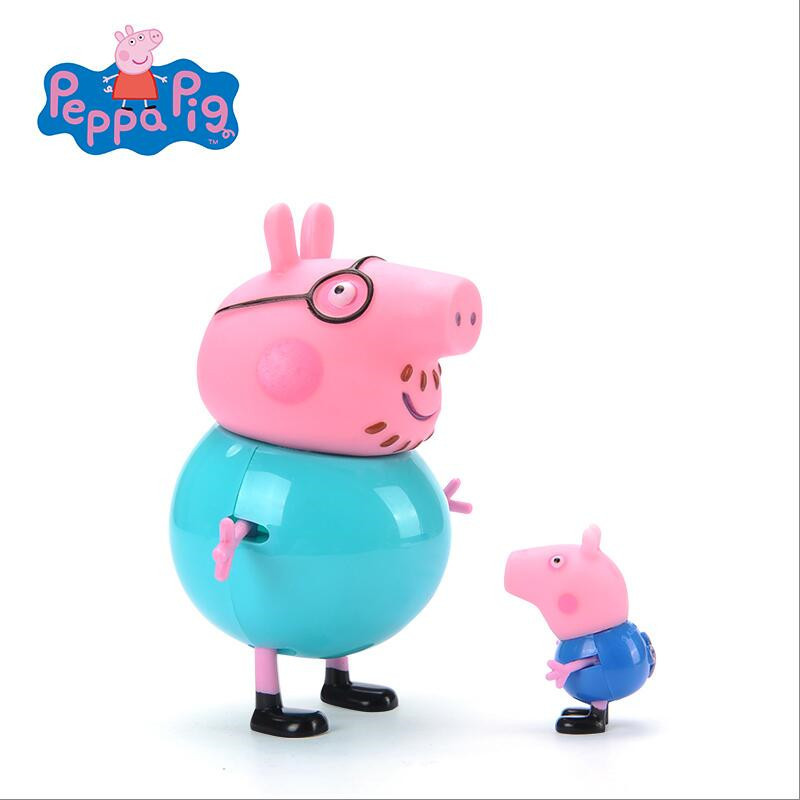 Peppa pig George Guinea Pig Family Pack Mom and Dad Model Action Figure Original Perusia Anime Toy Child Child Christmas Gift in Action Toy Figures from Toys Hobbies