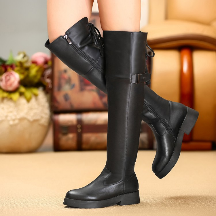 ФОТО Boots Genuine leather zipper plus size  40 small yards shoes high heel 4CM Platform 2.5CM EUR Size 33-40