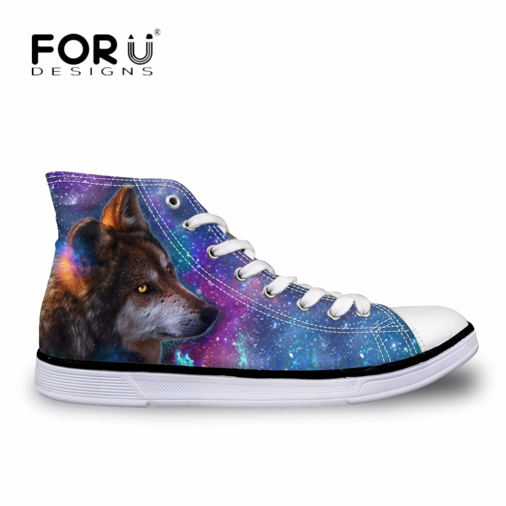FORUDESIGNS Galaxy Pattern Men Classic High Top Canvas Shoes Cool Animal Wolf Men