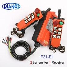 2 transmissor 1 receptor F21 E1 cabeça cogumelo parada de emergência guindaste condução grua controle remoto sem fio industrial 24v 36v 220v