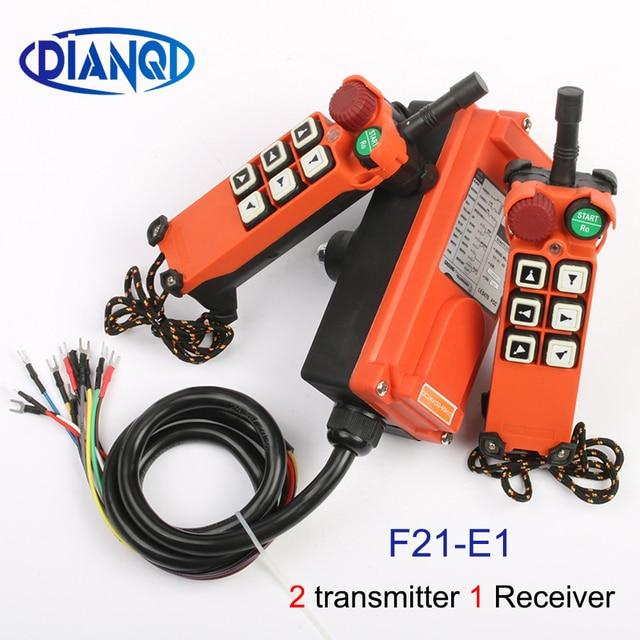 2 transmitter 1 Receiver F21 E1 emergency stop mushroom head crane driving hoist industrial wireless remote control 24V 36V 220V