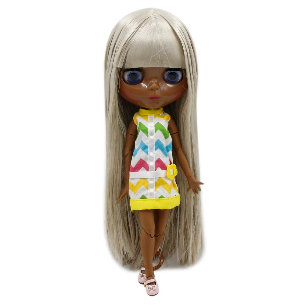 Dream fairy factory blyth doll super black skin tone darkest skin black Fashion grey straight hair