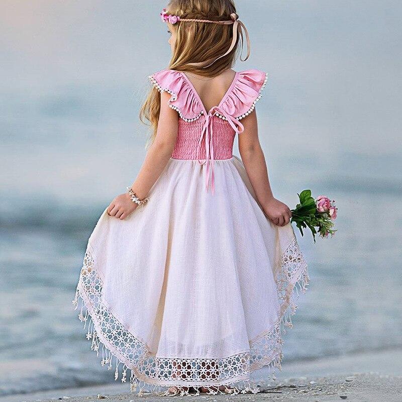 Детское платье с бахромой, с рукавами-фонариками