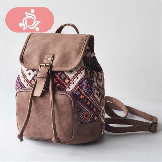 69d861bb73558 En iyi satın alım VEISK Marka Baskı Kadın Gençlik keten sırt çantası ...