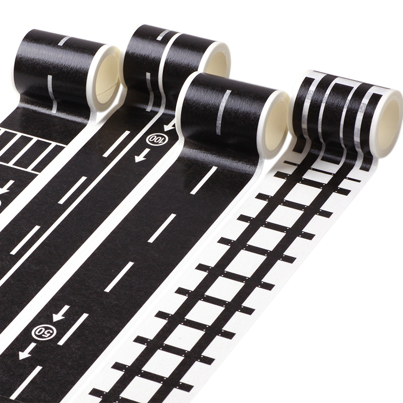 48mm*5m Black And White Railway Washi Tape Wide Traffic Road Masking Tape Road For Kids Toy Car
