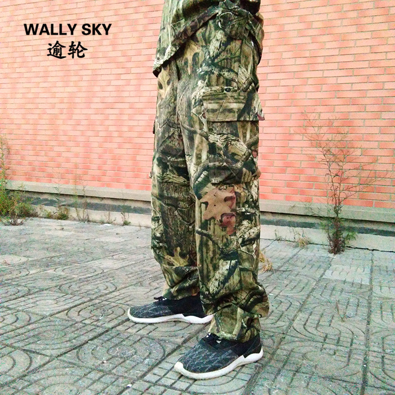 Mens Summer Hunting Pants Cotton Breathable Thin Large Size Camouflage Fishing Bionic Camouflage Trousers