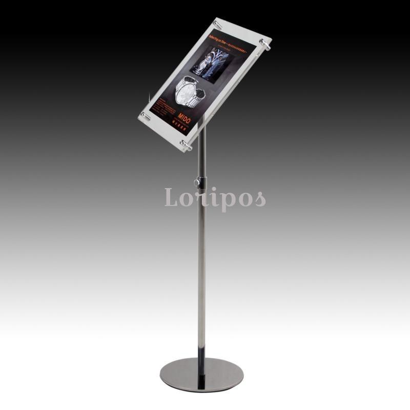 A4 Adjustable Floor Standing Pedestal Sign Holder Acrylic Sign Poster Display Frames Advertising Signage Floor Stand Rack