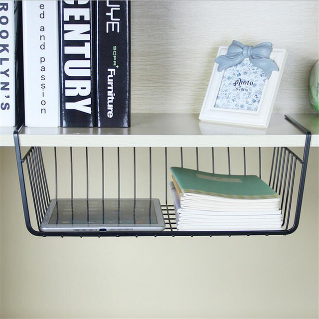 Kitchen Iron Storage Baskets Cabinet Drawer Organizer Under Shelf Storage Basket Student Desk Hanging Storage Holder & Kitchen Iron Storage Baskets Cabinet Drawer Organizer Under Shelf ...