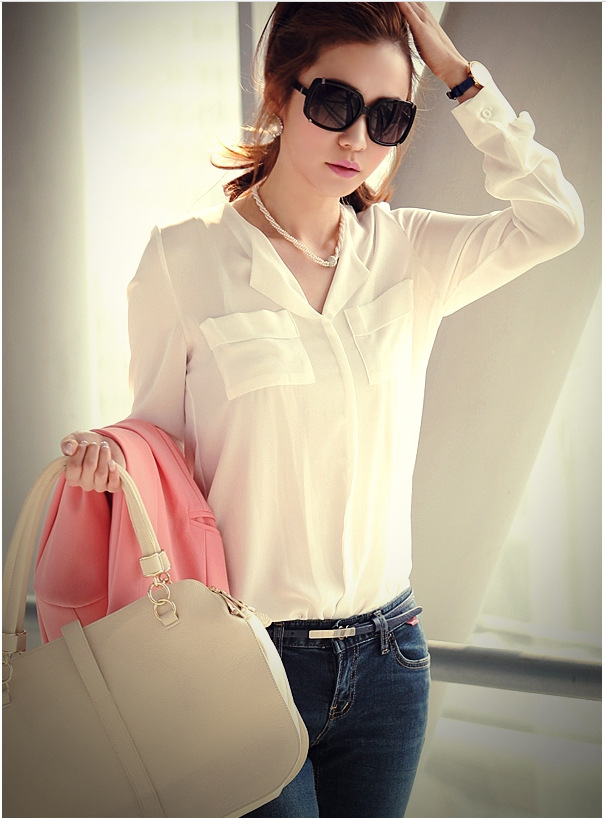 2015 New Design Womens Leisure Casual Loose V Neck Long Sleeve Chiffon Blouse Shirts Tops Plus Size S-L Blusa Roupas - Fashion Store1008 store