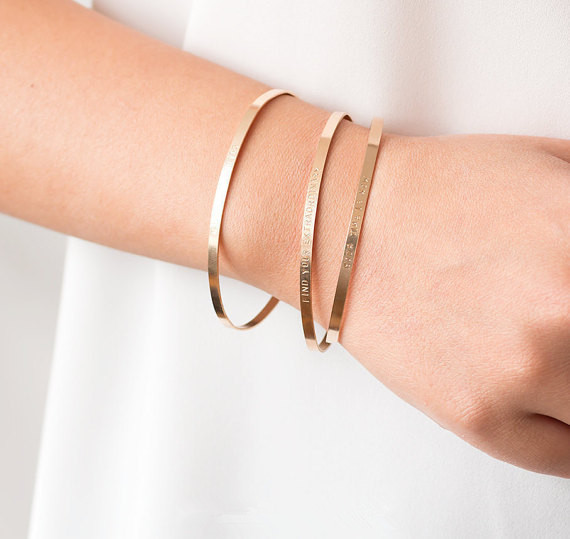 82d006f5d9d Personalized Cuff Silver/Gold/Rose Gold Fill Bangles,Positive Quotes Custom  Any Name Or Messages Bracelet Bangles Gifts For Her